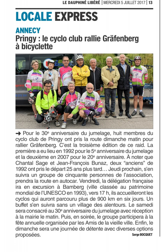 20170705-Pringy , le cyclo club rallie Gräfenberg à bicyclette